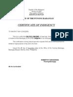 Certificate of Indigency