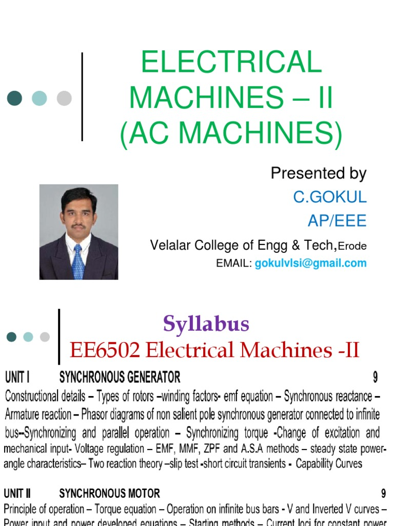 Electrical Machines 2 AC Machines | Electromagnetic Induction ...