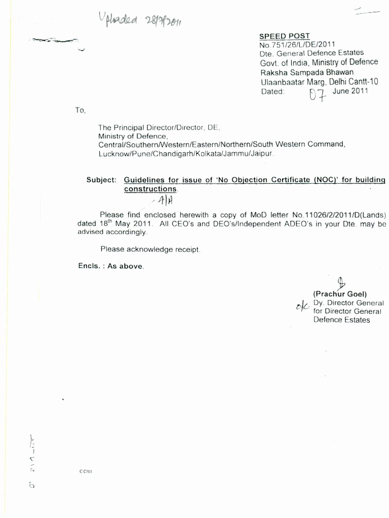 Guidelines For Issue Of U0027No Objection Certificate (NOC) For 1515915782?vu003d1  Guidelines For Issue Of No Objection Certificate NOC For Building  Constructions ...  Noc No Objection Certificate