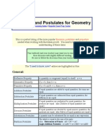Theorems and Postulates for Geometry