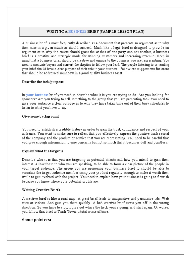 Writing a Business Brief | Relationships & Parenting | Child Care