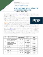 27.04.2015 - Programul de Predare Al Lucrarilor de Licenta-disertatie - IULIE 2015