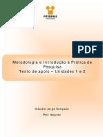 Metodologia e Introdução à Prática de Pesquisa