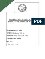 Programa de Literatura Siglo Xx Facultad de Filosofía y Letras - UBA