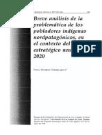 Breve Análisis de La Problemática de Los Pobladores Indígenas Nordpatagónicos, En El Contexto Del Plan Estratégico Neuquén 2020