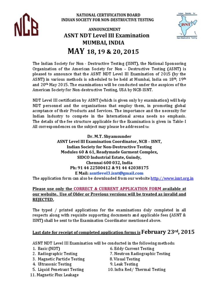 Asnt Leveliii Announcement May2015 Wire Transfer Cheque