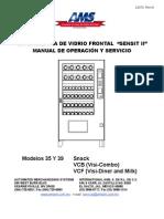 """EXPENDEDORA DE VIDRIO FRONTAL """"SENSIT II"""" MANUAL DE OPERACIÓN Y SERVICIO"""