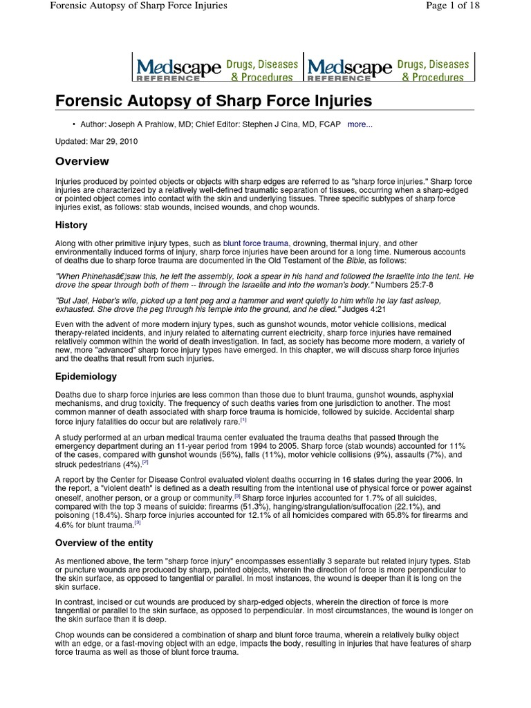 Forensic Autopsy Of Sharp Force Injuries Autopsy Wound