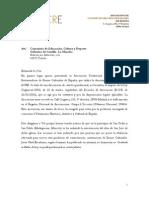Carta Parroquia Madrigueras_Carta La Consejeria de ECD Castilla La Mancha
