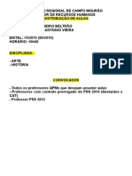 Distribuição de Aulas - 15-05-2015
