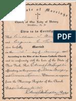 Wedding Certificate Virginia Lineen to William Murphy