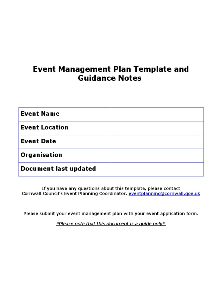 Event Management Plan Template And Guidance Notes Fire Safety