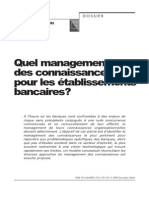 Quel Management de Connaissances Pour Les Établissements Bancaires