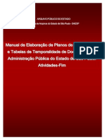 Bernardes Manual de Elaboracao de Planos de Classificacao e Tabelas de Temporalidade Da Administracao Publica Do Estado de Sao Paulo Atividades Fim