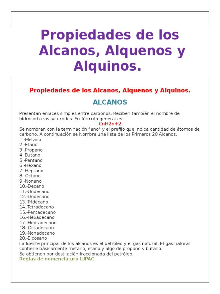 Propiedades De Los Alcanos Alquenos Alquinos Alcano Alqueno