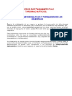 Procesos Postmagmaticos, Metasomaticos y Formacion de Los Minerales
