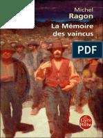 La Memoire Des Vaincus - Ragon, Claude