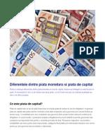 Diferentele Dintre Piata Monetara Si Piata de Capital