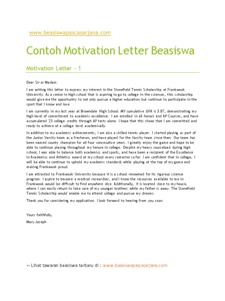 Contoh Motivation Letter