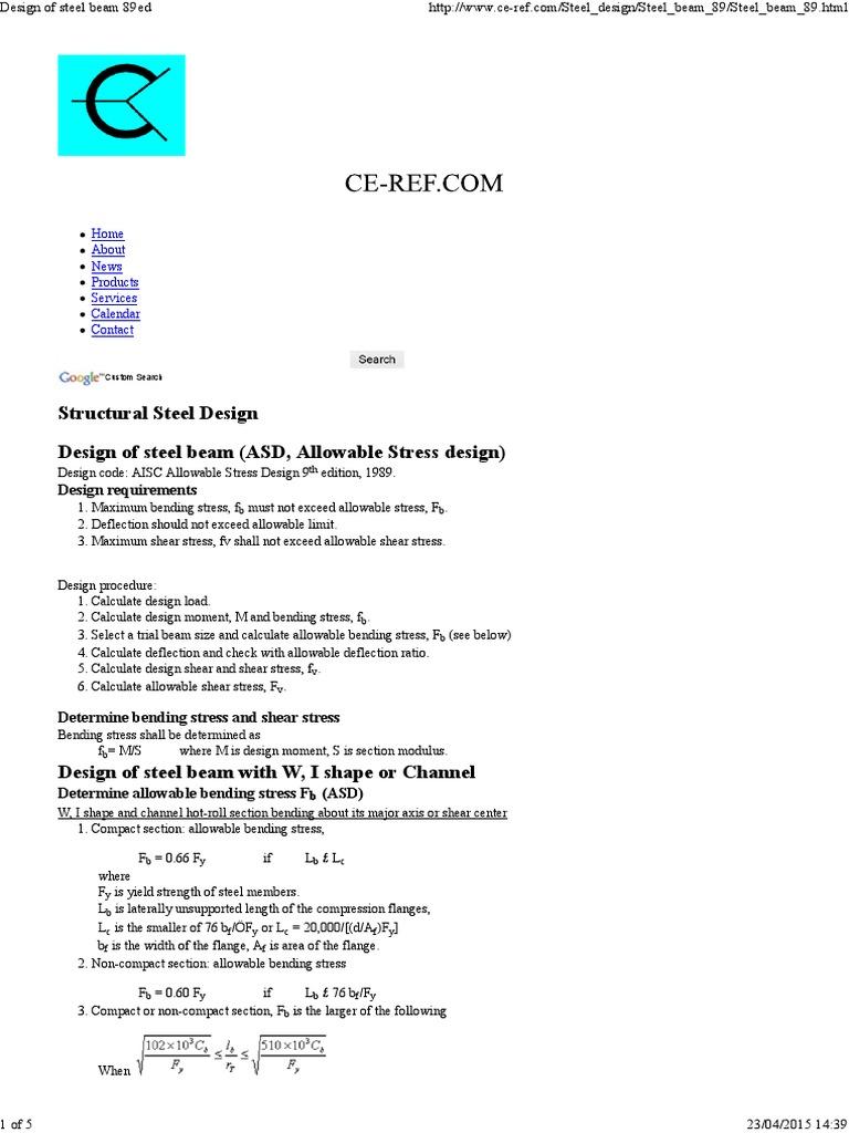 Design of Steel Beam 89ed | Bending | Beam (Structure)