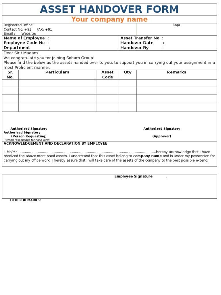 Company asset handover form altavistaventures Image collections