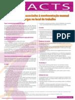 Factsheet 73 - Perigos e Riscos Associados a Movimentacao Manual de Cargas No Local de Trabalho