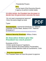 Presidential Powers Notes