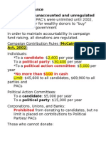 Campaign Finance Rules Notes