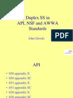Duplex Ss in API , Nsf and Awwa
