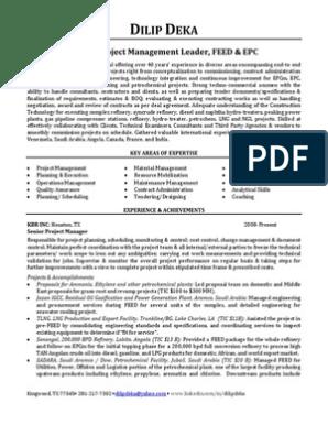 Senior Epc Project Manager In Houston Tx Resume Dilip Deka Oil Refinery Ethylene