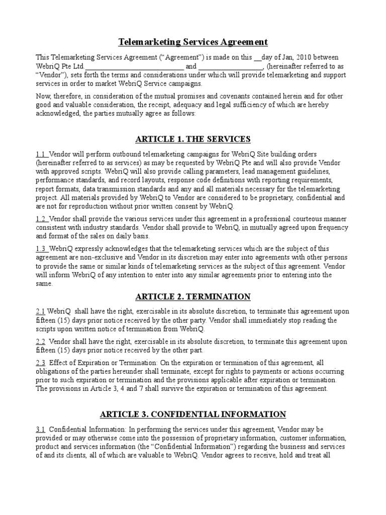 WebriQ Telemarketing Services Agreement | Non Disclosure Agreement |  Indemnity