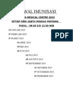 Jadwal Imunisasi 2015