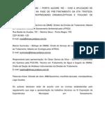 Aplicação de Dióxido de Cloro Na Fase de Pré Tratamento