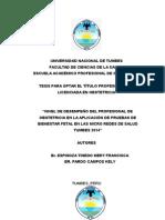 """""""Nivel de Desempeño Del Profesional de Obstetricia en La Aplicación de Pruebas de Bienestar Fetal en Las Micro Redes de Salud Tumbes 2014"""""""
