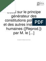 Joseph de Maistre - Essai Sur Le Principe Générateur Des Constitutions Politiques [Em Francês]