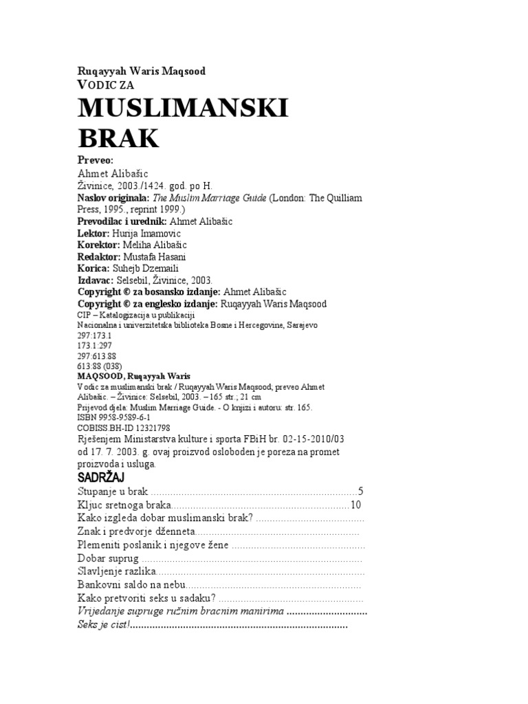 Brak muslimanke za iz bosne DUŽNOSTI ŽENE