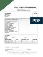 Formato Certificado de Soldador
