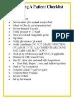 Admit Checklist
