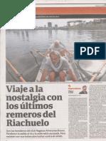 Viaje a la nostalgia con los últimos remeros del Riachuelo - nota en Clarín - 7 de junio - 2015
