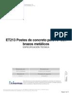 ET213 Postes de Concreto Para AP Con Brazos Metálicos