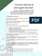 Edital do XXIV Concurso Nacional de Poesias Augusto dos Anjos