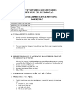 Training Evaluation Questionnaire - Molding - Pour Machine