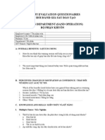 Training Evaluation Questionnaire - Molding - Sand Operation