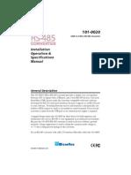 101 0020 USB RS485 Converter Manual