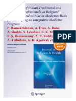 Perspectives of Indian Traditional and Allopathic Professionals on the Role of R-S in Medicine_Ramakrishnan Et Al JRH June 2013