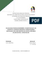 Caso Clinico de Enfermeria paciente pediatrico con Dx medico celulitis periodontal Hospitalizado en hospital Raul Leoni de Guaiparo.