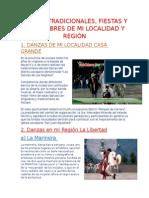 DANZAS TRADICIONALES, FIESTAS Y COSTUMBRES DE MI LOCALIDAD Y REGIÓN