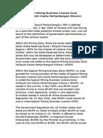 newsletter mining - special mining business license zone (iupk)