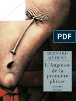 L Angoisse de La Première Phrase Bernard Quiriny