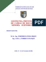 19_geotecnia, Prevención de Caidas de Rocas en Mineria Subterranea